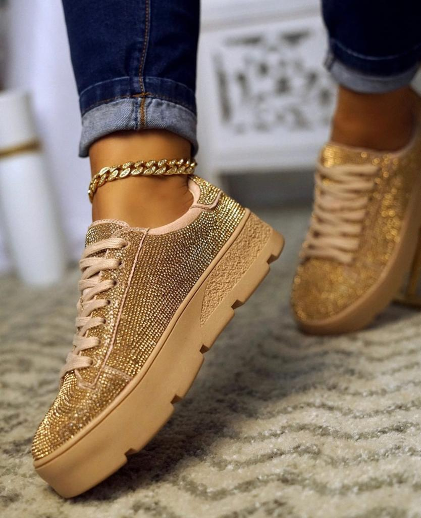 Cape Robbin Euro Lace Up Rhinestone Platform Sneakers Rose Gold