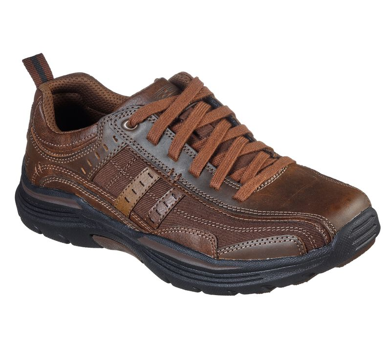 Skechers Men's EXPENDED-MANDEN Leather LACE UP Oxford Dark Brown