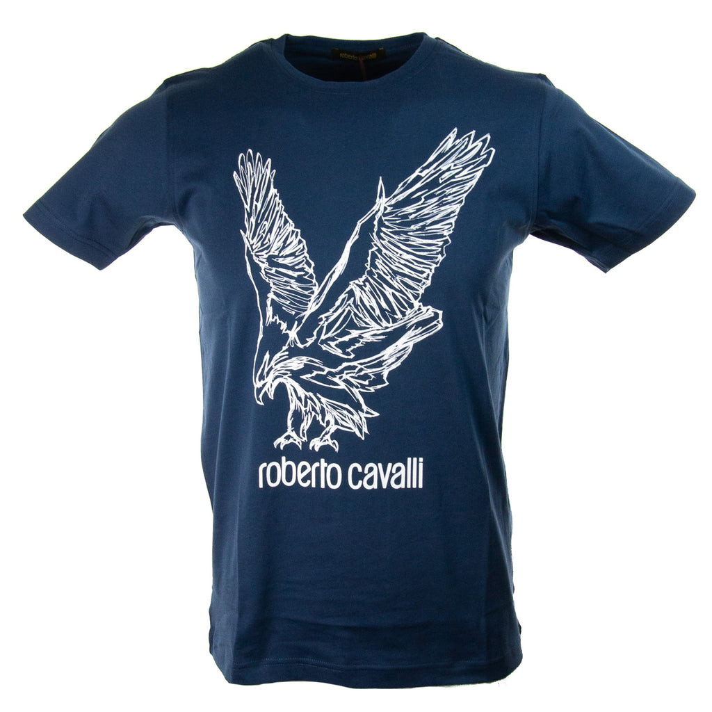 Roberto Cavalli Eagle Graphic Logo T-Shirt Navy FST965A02704926