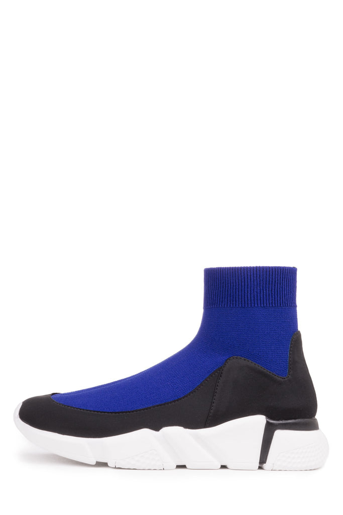 Jeffrey Campbell REDMAN-2 Stretch Fashion Jogger Sneaker, Black Neoprene Blue