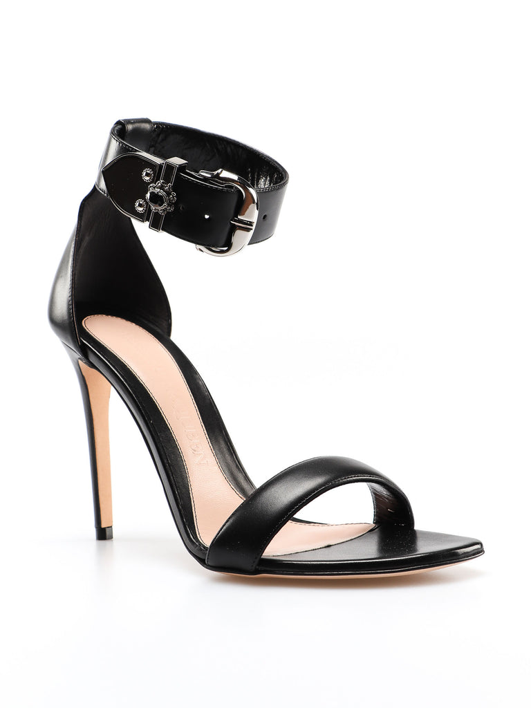Alexander Mcqueen Sandal Black Leather Two  Piece High Heel Sandal