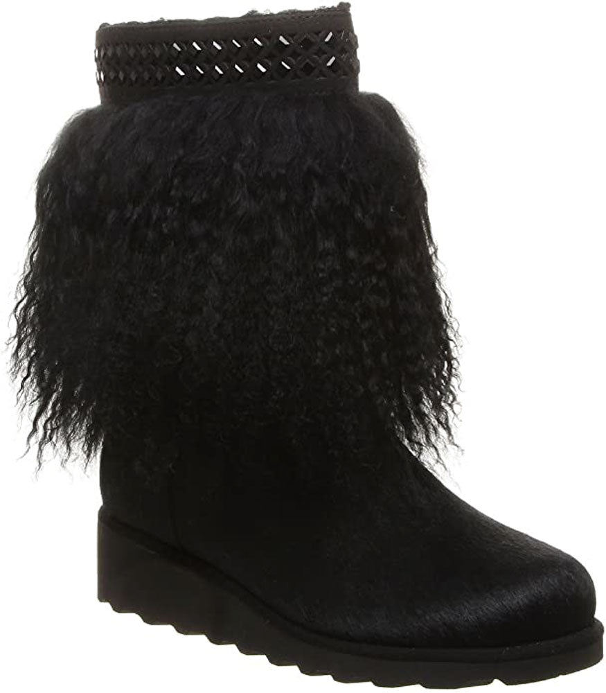 Bearpaw Women's Elise cozy Furry Warm rhinestone embellished Boots Black