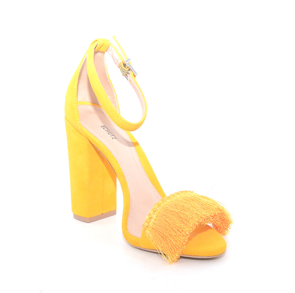 Schutz Mary Yellow Tassle Vamp Ankle Strap Wrapped Block Heel Sandals