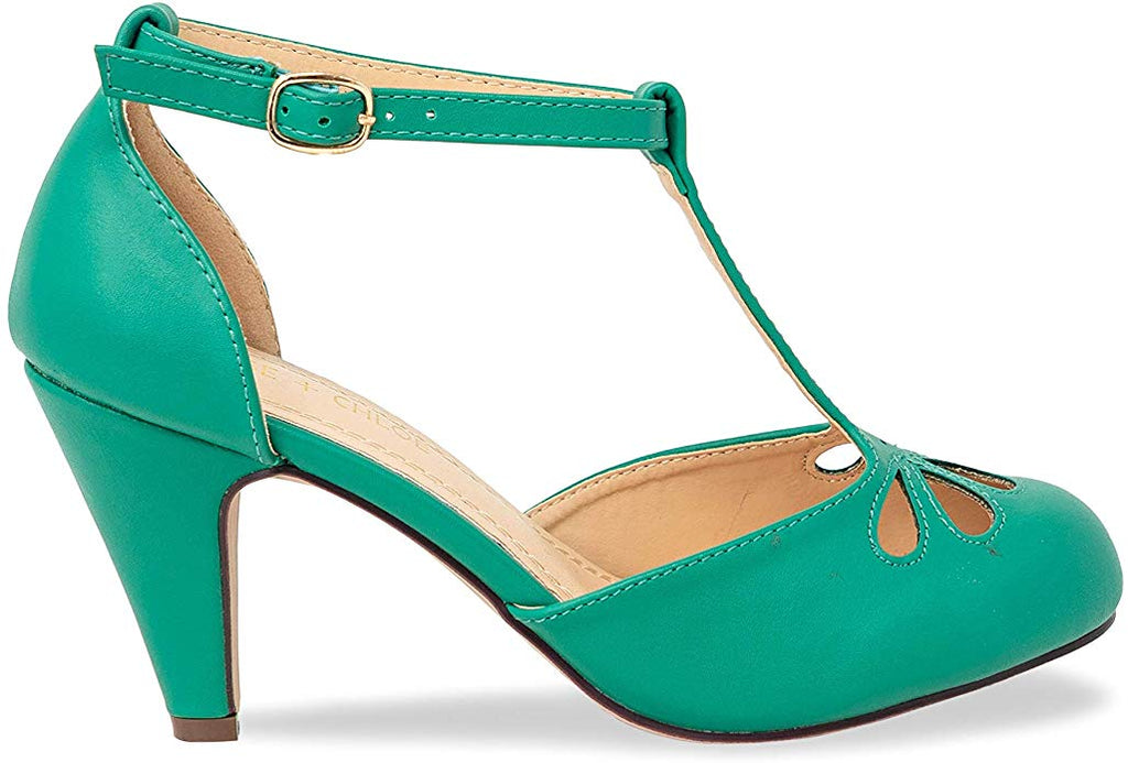 Chase & Chloe Kimmy-36 Women's Teardrop T-Strap Mid Heel Pumps, Dark Green