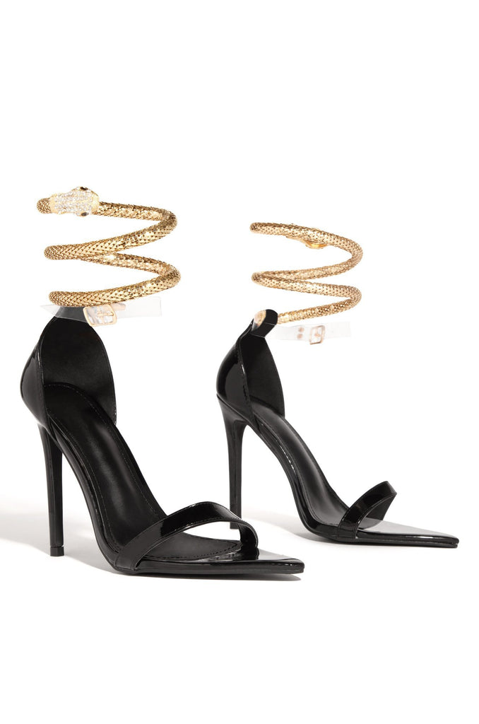 Cape Robbin Nikita Black Patent Ankle Snake Wrap Around Anklet High Heel Sandals