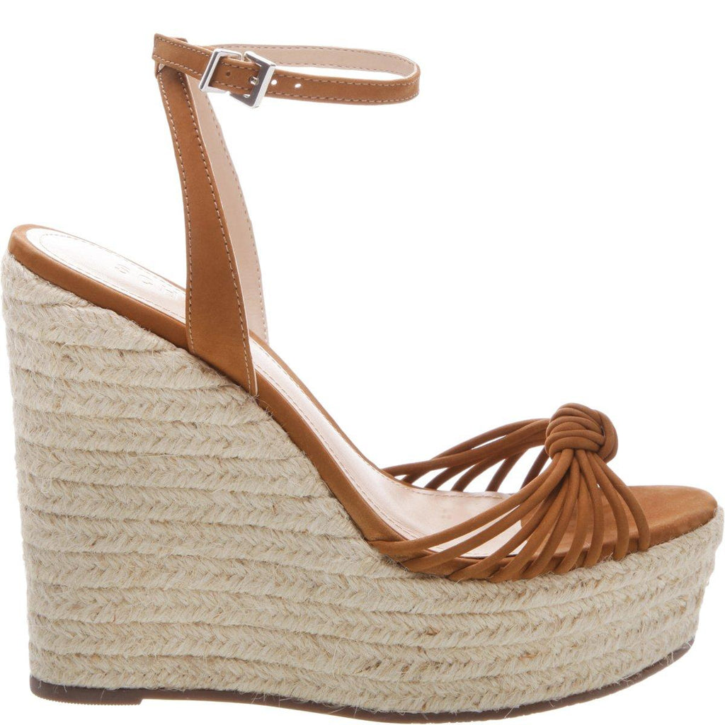 Schutz Gianne Wood Brown Espadrille Platform Wedge Simple Sandals