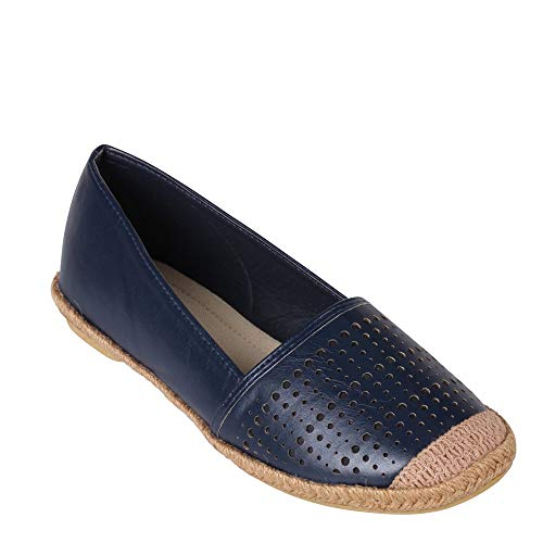 "Wanted ""Roundel Slip On Espadrille Flat navy Slip On Comfortable Flats 7"