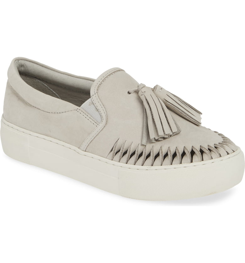 J slides Aztec Light Grey Nubuck Leather Loafer Platform Tassel Slip-On Sneaker