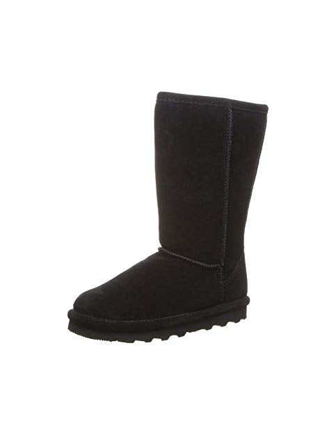 Bearpaw Casual Boots Girls Elle Tall Knee high Youth Black Cow Suede Fur Lined Boots