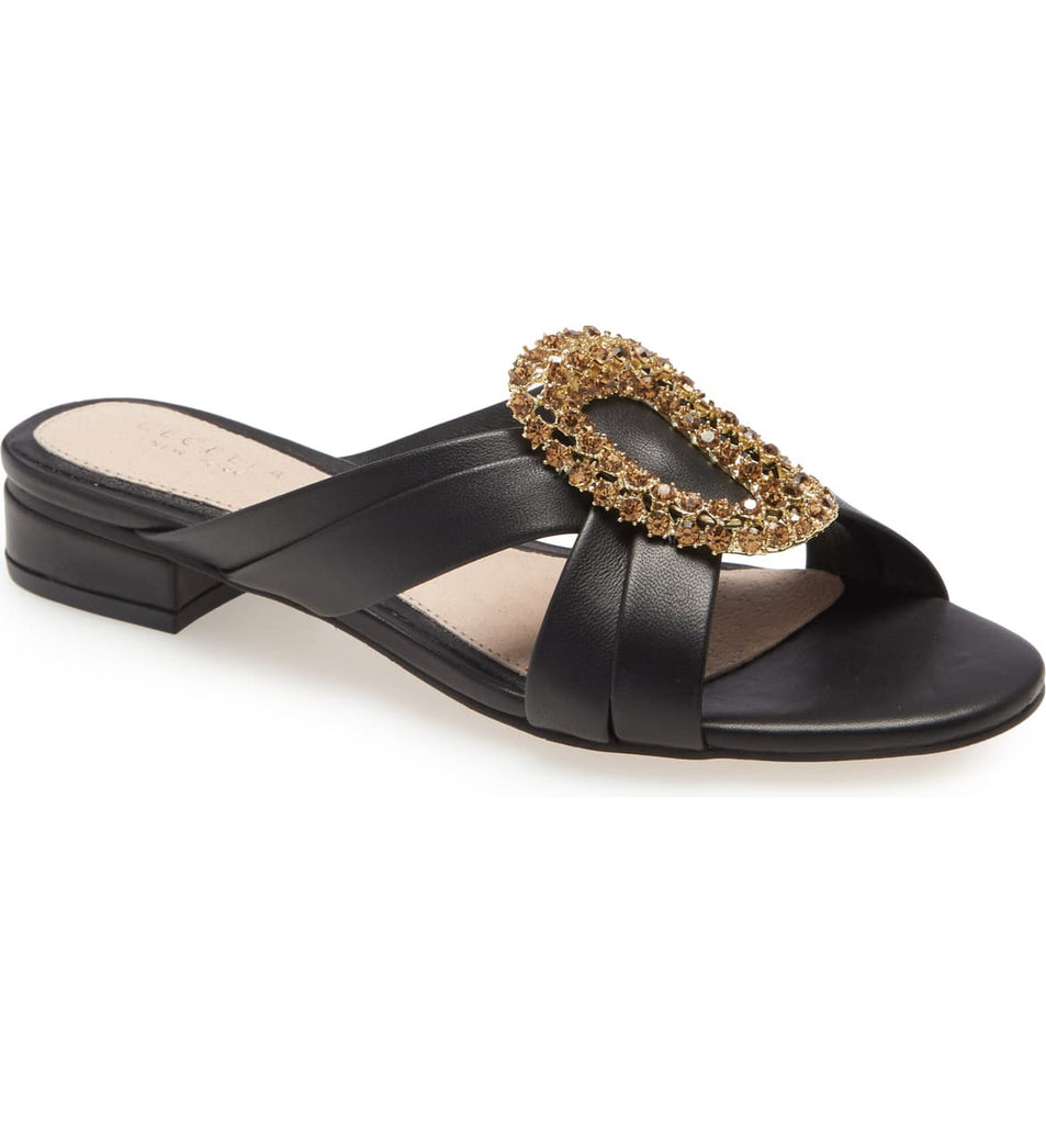 Cecelia New York Paradise Slide Sandal Black Slip On Stone Embellished Mule