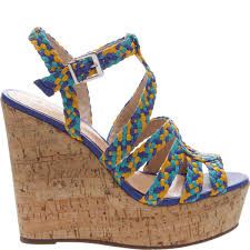 Schutz Caron Olympian Blue HIgh Heel Cork Wedge Platform Multi Color Sandals