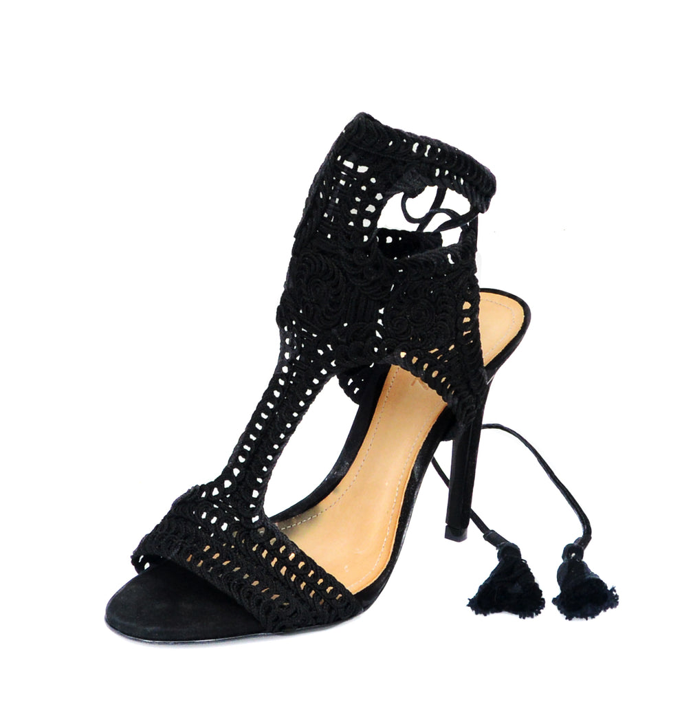 Schutz Veca Black Bordado high heel single sole crochet tie-up dress sandal
