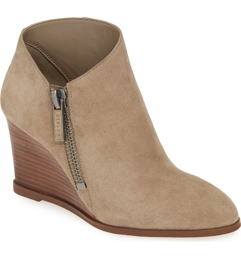 1.State Kaleb Wedge Ankle Bootie Pebble Taupe Suede Mid Wedge Designer Boot