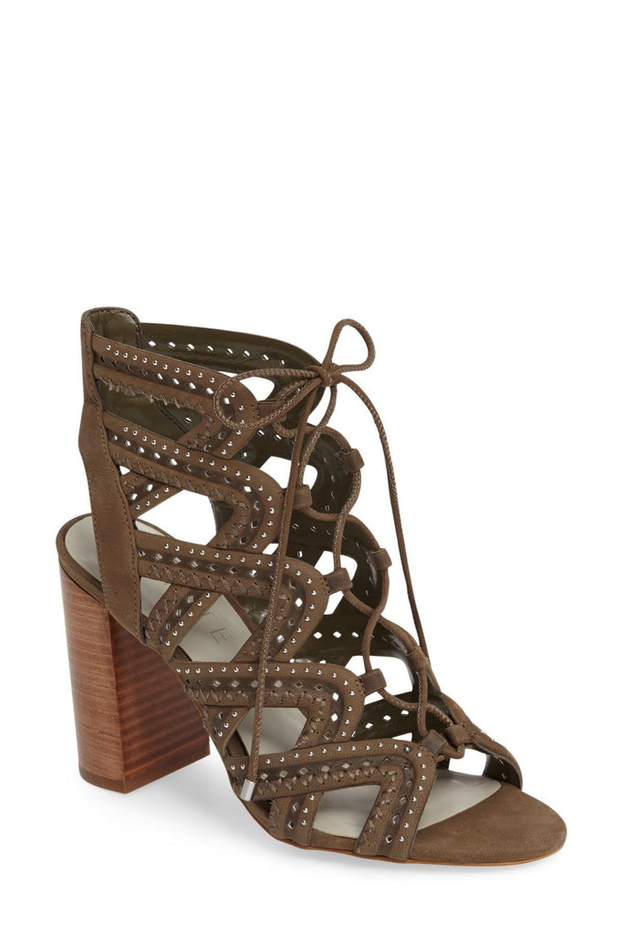 1.State Kayley Grasshopper Caged Studded Lace Up Block Heel Open Toe Sandal