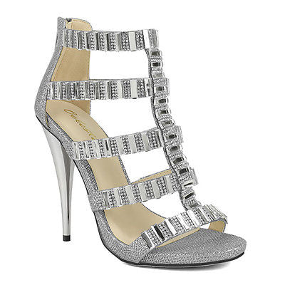 RIVA HIGH HEEL OPEN TOE CAGED SILVER GLITTER RHINESTONE GEMS EVENING SANDALS (10)
