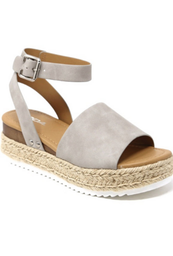 Soda Topic Gray Espadrilles Flatform Studded Wedge Ankle Strap Open Toe Sandals (7 M US, Gray Nubuck)
