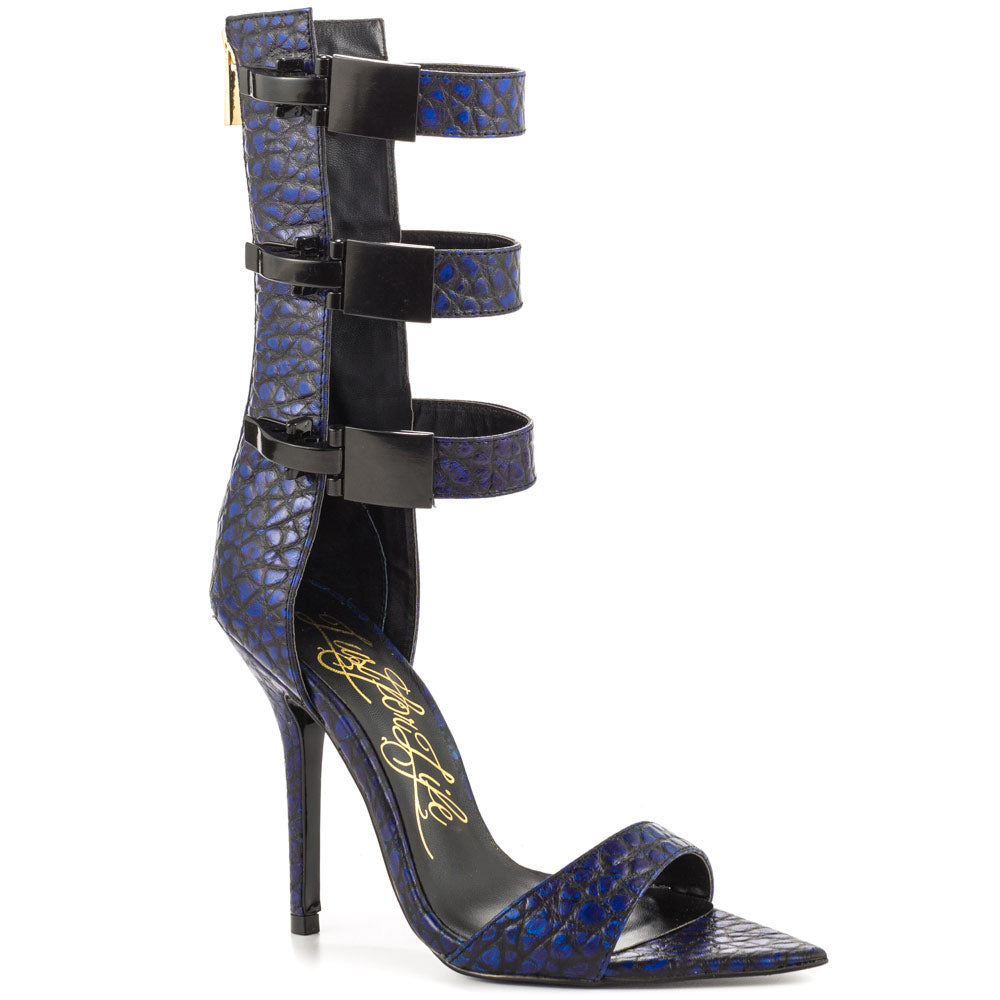 Lust For Life TRIBE HUE BLUE LEATHER TRIPLE BUCKLE SINGLE SOLE MIC CALF SANDAL
