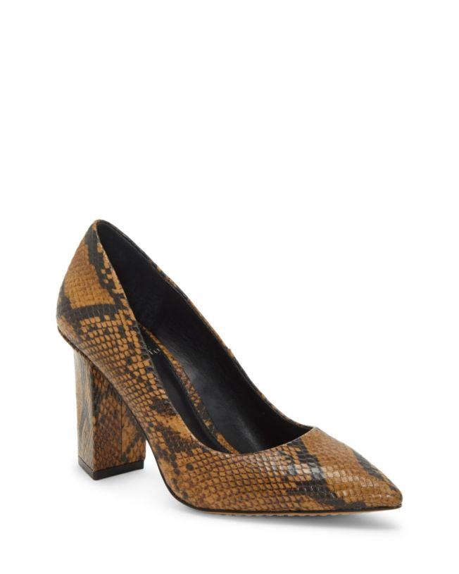 Vince Camuto Candera Shoes Smokey Brown Snake Pointed Toe Block Heel Pumps