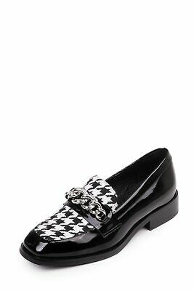Jeffrey Campbell HORNSBY-CH Black and White Houndstooth Loafer