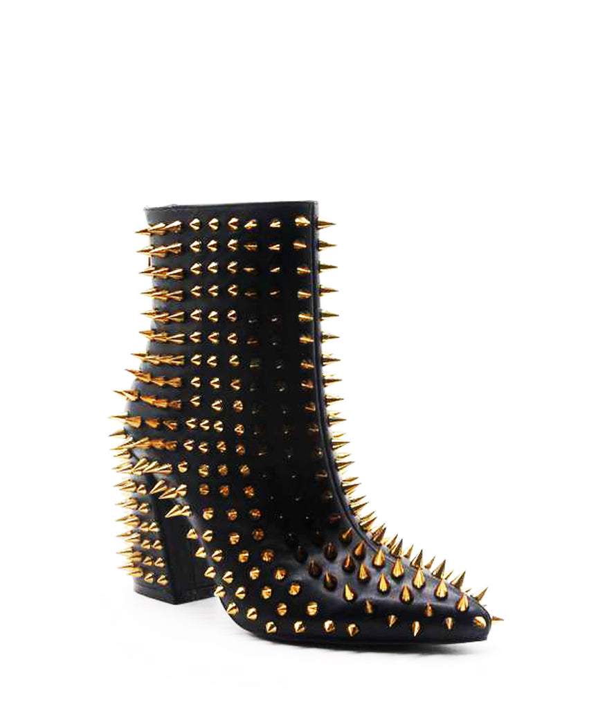 Cape Robbin Billie Black Block Heel Pointed Spike Gold Studded Ankle Boots
