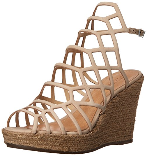 Schutz Oyster Ankle Strap Caged Espadrille Wedge Platform Heeled Sandals