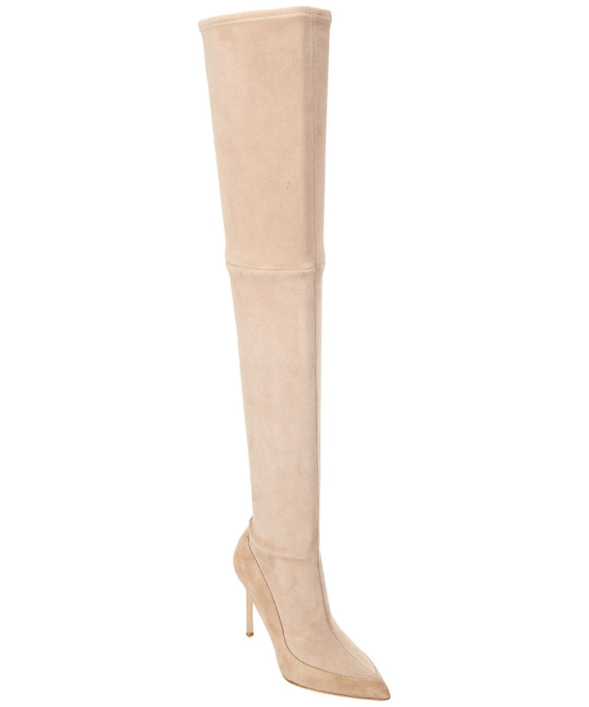 Pour La Victoire Women's Cassie Over Knee Boot Sandstone Thigh High Pointy Boots