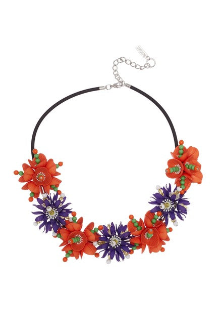 MOSCHINO Women's Floral Statement Necklace ORANGE 910683012063