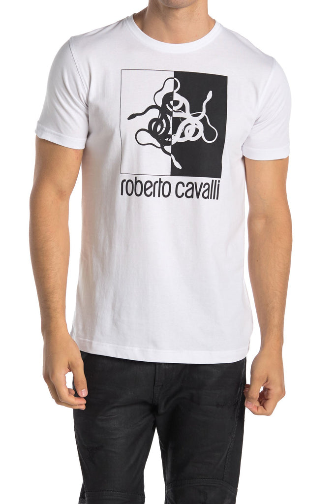 Roberto Cavalli Graphic Front Short Sleeve T-Shirt WHITE HST672A47500053