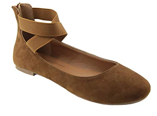 Anna Dana-20 Classic Ballerina Flats with Elastic Crossing Straps Whiskey