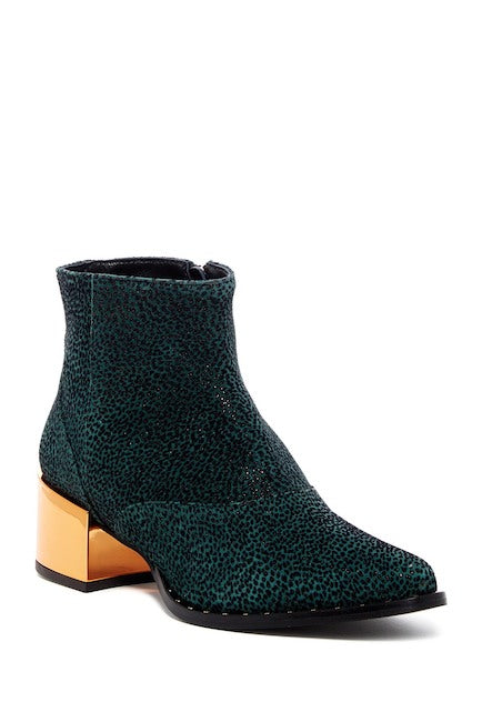 Ivy Kirzhner Cirque Green Pointed Toe Dress Ankle Boots Metallic Ankle Boot