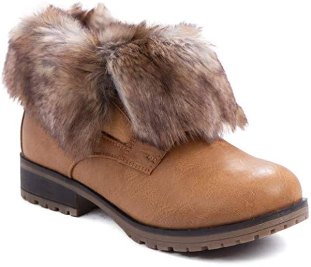 Refresh Women Wynne Leatherette Fold Down Fur Trim Combat Bootie (Tan-Fur)