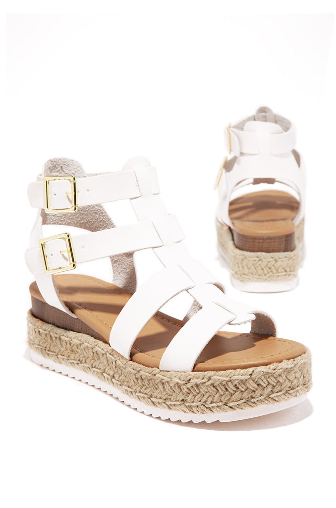 Soda Embassy White Espadrille Flatform Studded Wedge Ankle Strap Open Toe Sandal