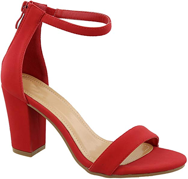 Top Moda HAnnah-1 Ankle Strap High Heel Sandal Red Nubuck Open Toe Pump
