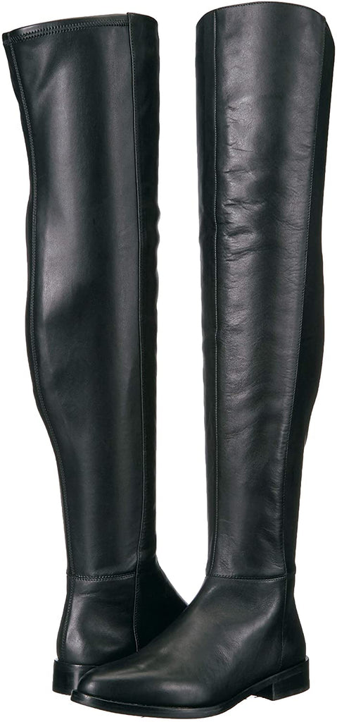 Vince Camuto Hailie Black Leather 50/50 Pointed Over-the-Knee Leather Boots