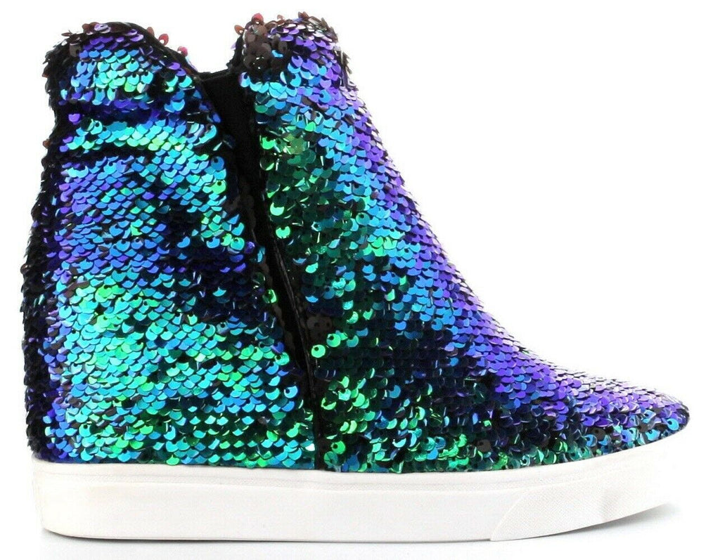 Cape Robbin Women Uneek-1 Sequin High Top Hidden Wedge Sneaker, MERMAID