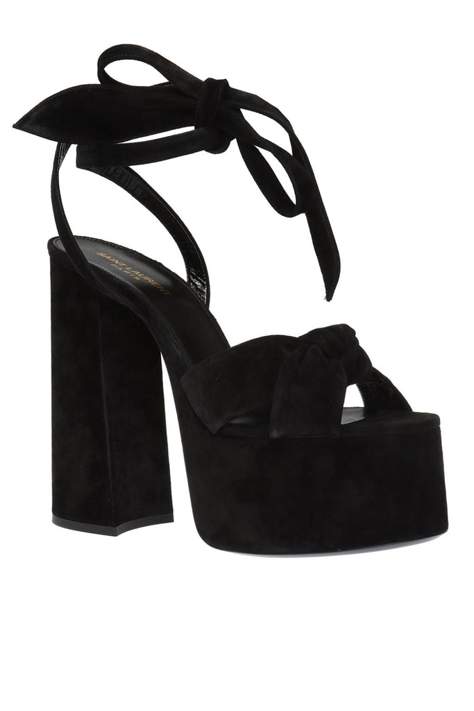 SAINT LAURENT SUEDE PAIGE SANDALS BLACK SUEDE SUPER HIGH PLATFROM PUMPS