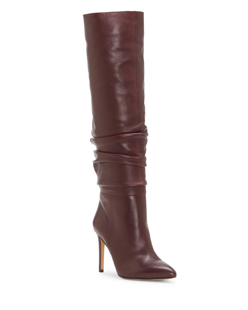 Vince Camuto Kashiana Mahogany Red Stiletto Slouched Knee High Heel Leather Boot