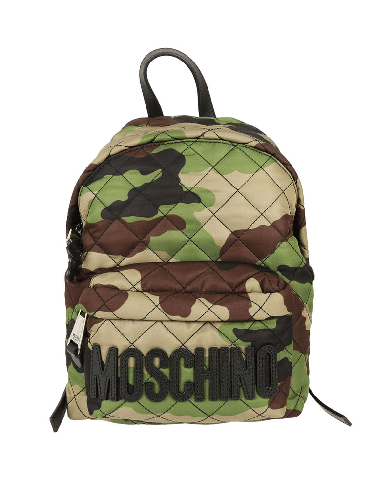 MOSCHINO Women's LOGO QUILTED BACKPACK Verde Militare 760882012439