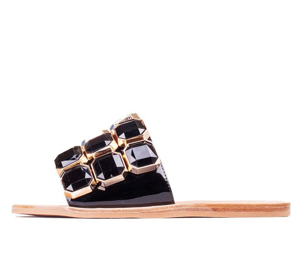 Jeffrey Campbell DARJANA-2 Black Patent Black jewel Gold Detail Slide Sandals