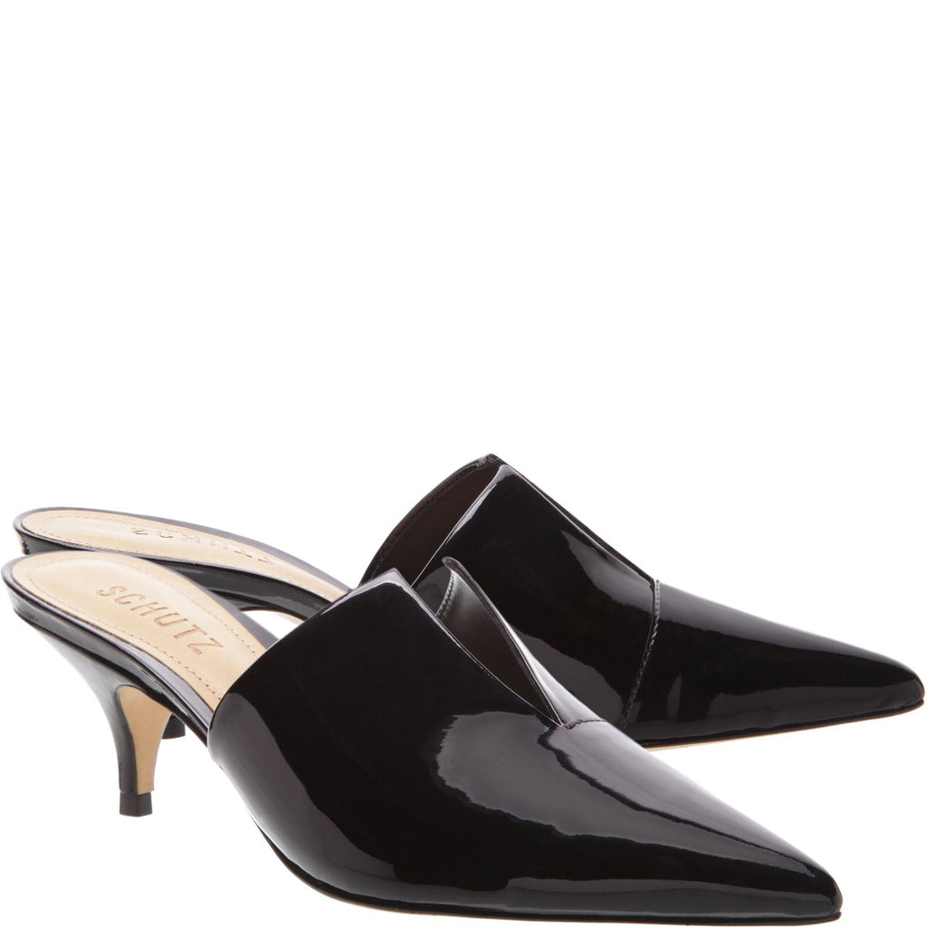 Schutz Ivna Black Patent Leather Kitten Heel Open Back Mule Pump