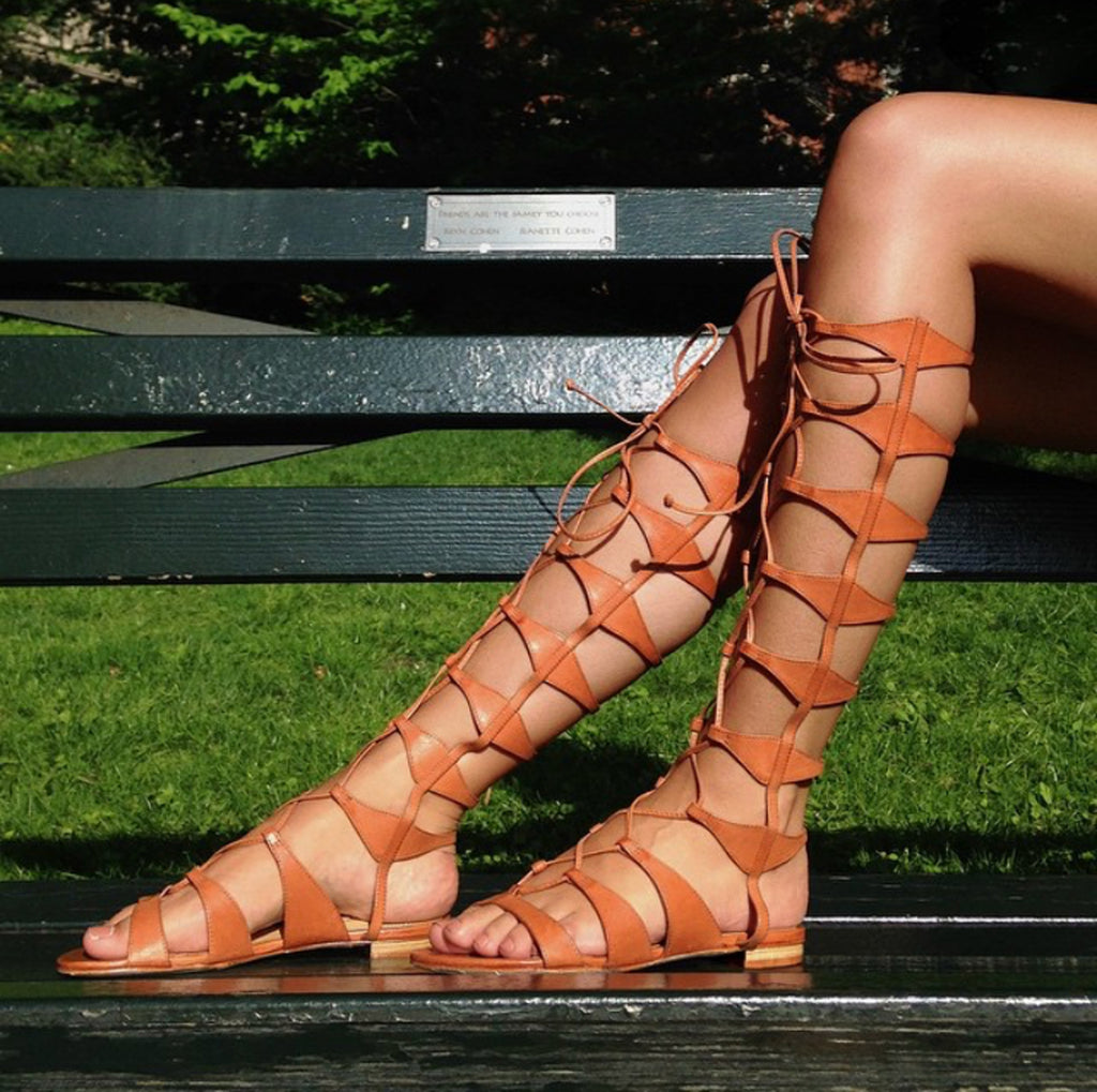 Schutz Shyla Caramel Brown Leather Lace-up Gladiator Sandals Tall Erlina Flats