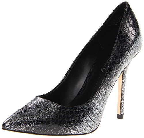 Boutique 9 Women's Justine Snake Silver Black Pointed Toe Stiletto Pump