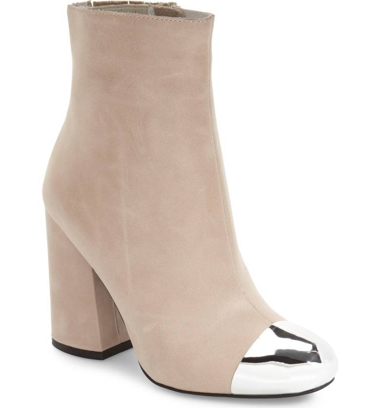 Jeffrey Campbell Perabo Light Grey Silver Capped Toe Flared Heel Ankle Bootie