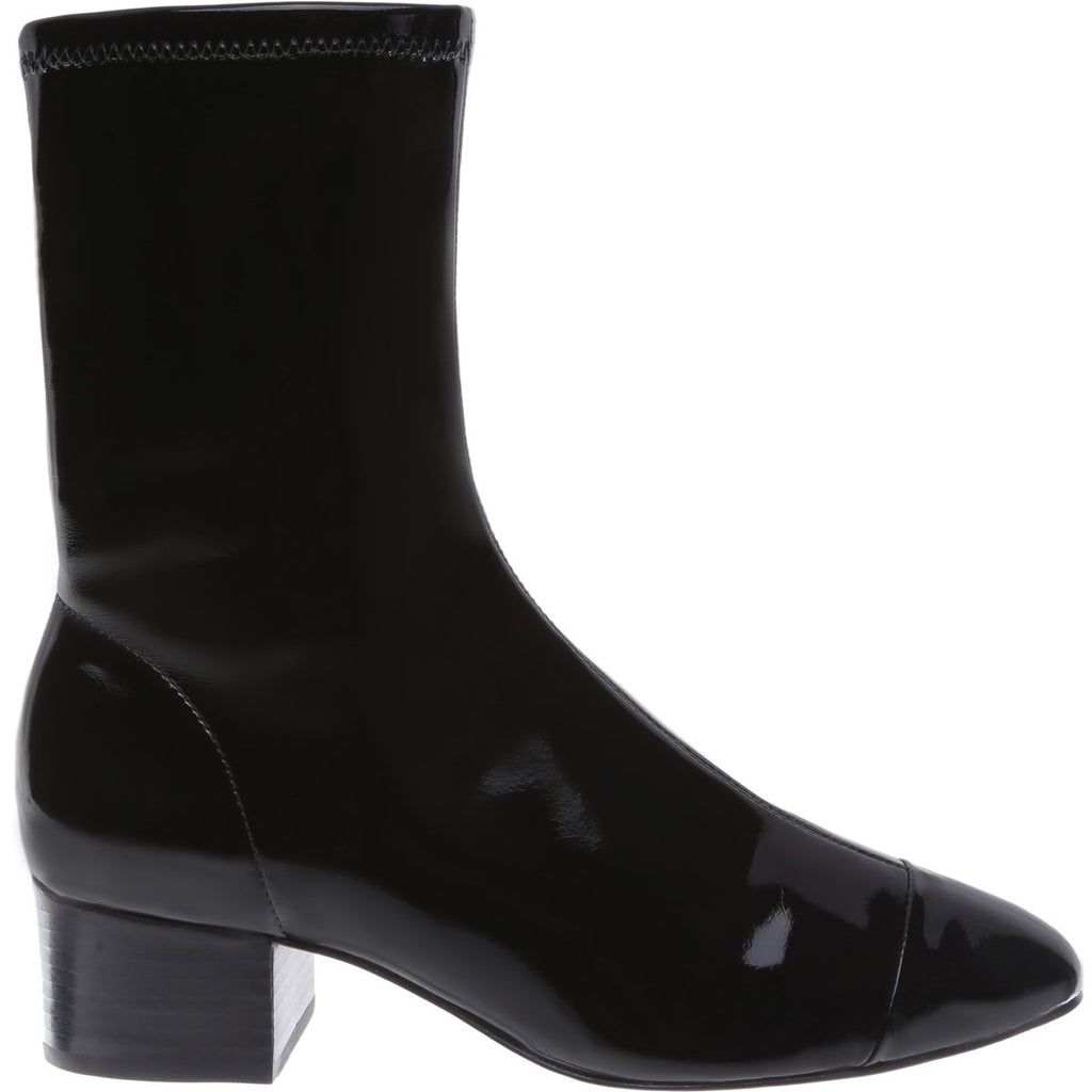 Schutz Lilith - Black Leather Leather Fitted Strech Bootie