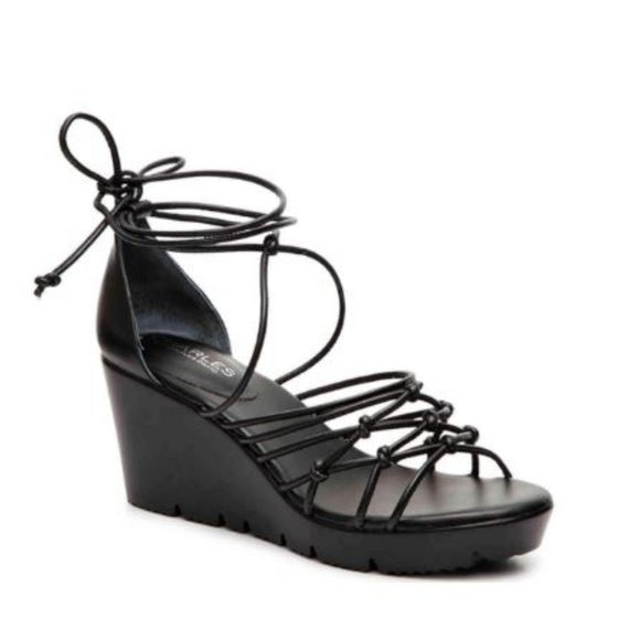 Charles by Charles David Vegas Black Smooth Strappy Wedge Sandals