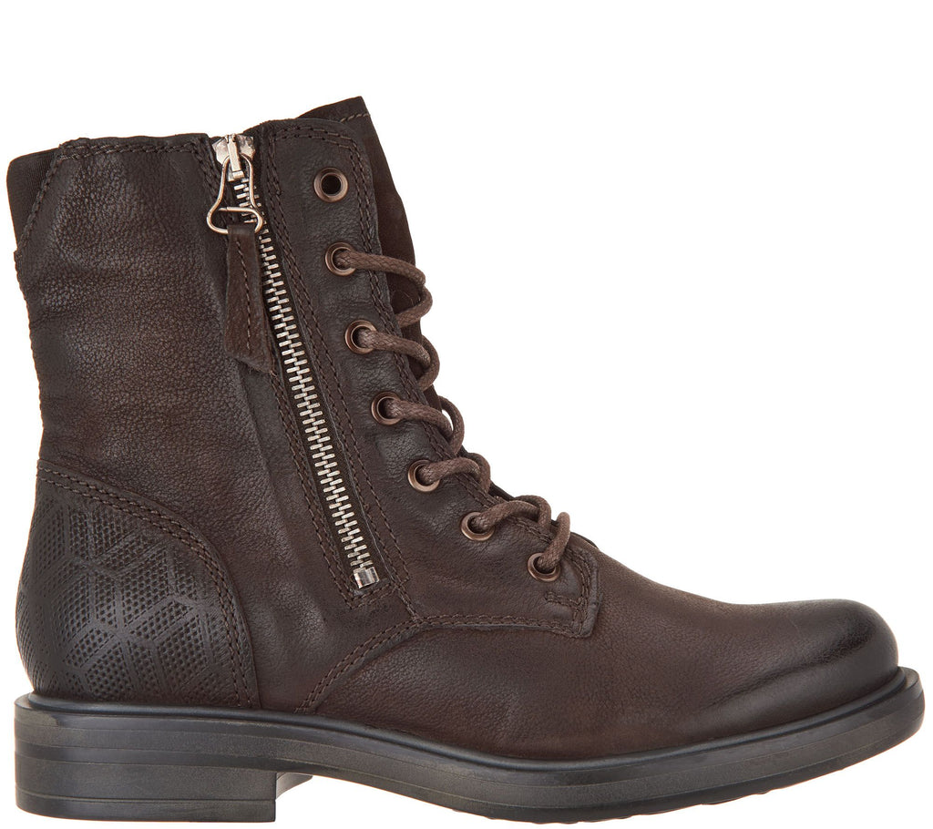 Miz Mooz Leather Lace-Up Ankle Boots - Charlie Graphite Grey Leather