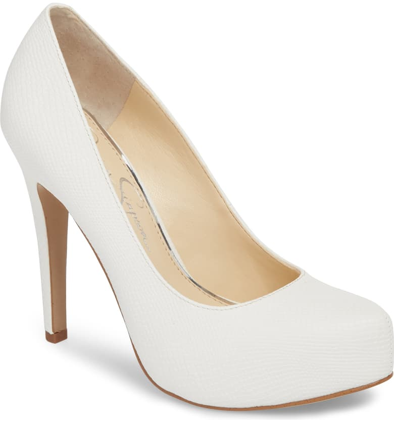 Jessica Simpson Parisah White Rumba Snake Leather Platform High Heel Pumps