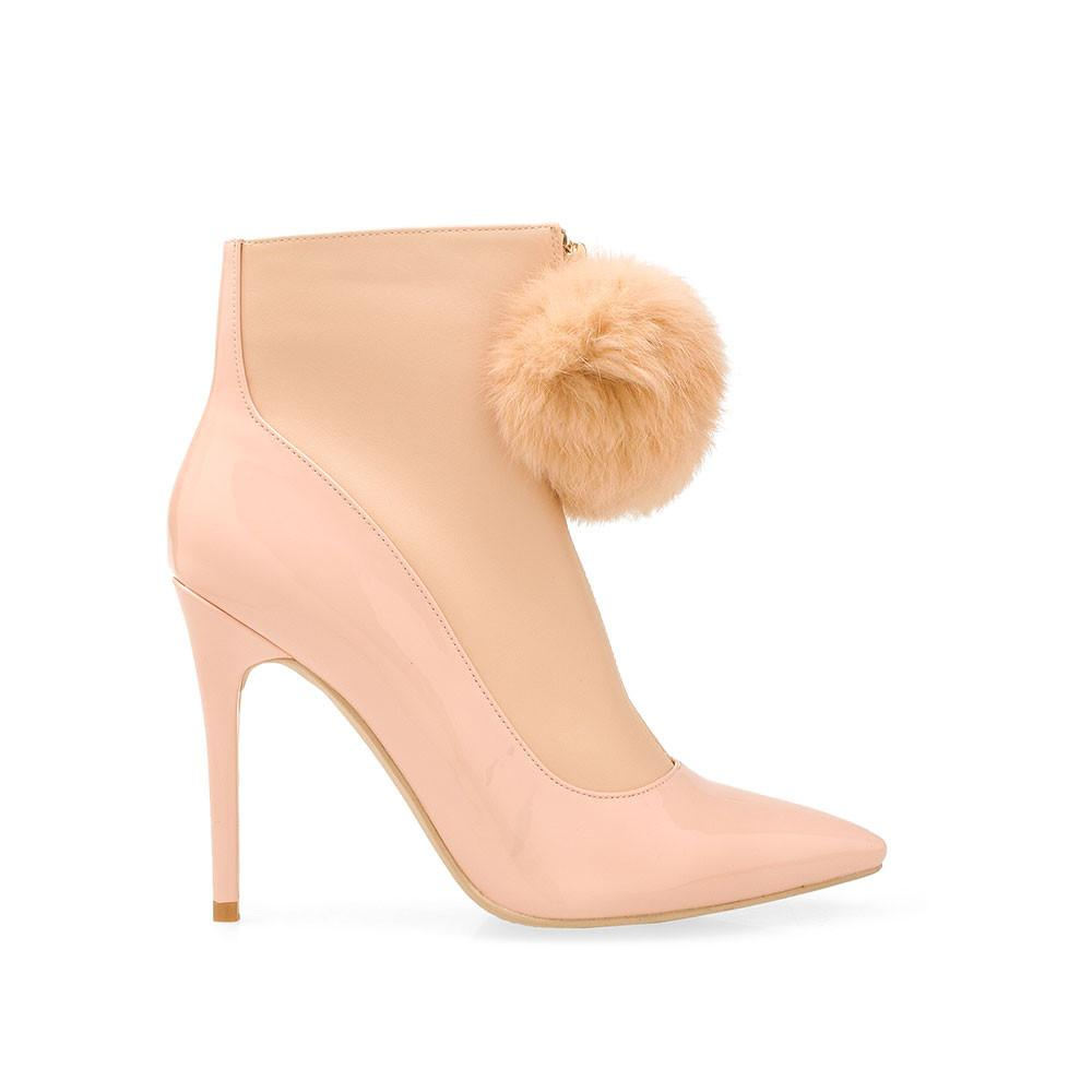 Privileged Queda Blush Patent / Matt Pointed Toe Fur Pom Pom Gold zipper Booties