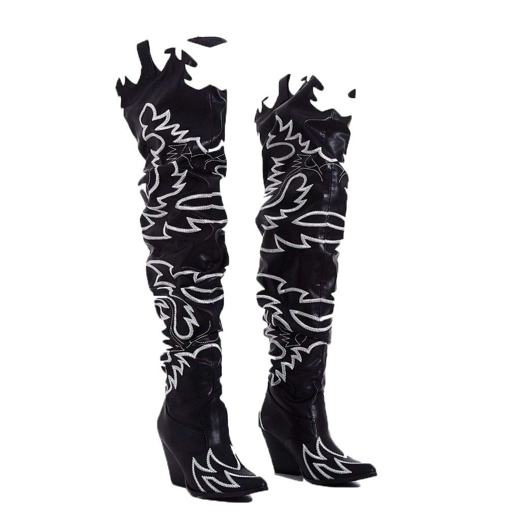 Cape Robbin Kelsey-21 Black/White Thigh High Over knee Cowgirl Boots