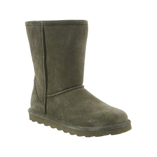 Bearpaw Womens Elle Short Winter Boot Olive Suede Fur Lined Winter Boots